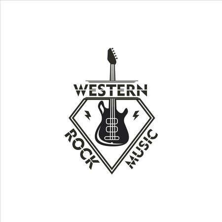 Vintage silhouette logo design of western skirt music. Wild rock music logo template. Rustic logo music western version rock