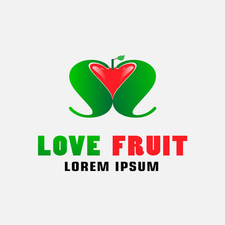 Love fruit design ideas. Heart-shaped fruit  and 2 S letters facing each other. Fruit design template 向量圖像