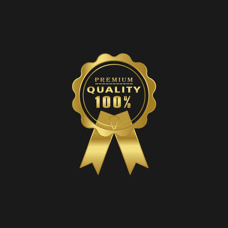Illustration of premium quality vector label. Premium quality gold stamp with black background
