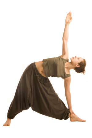 Woman in oriental pants doing yoga