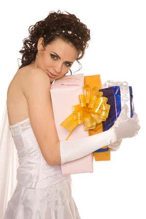 greedy: Greedy bride with presents Stock Photo