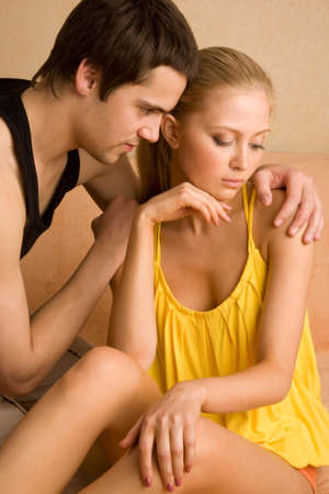 relationship problems: Young beautiful couple  having relationship problems Stock Photo