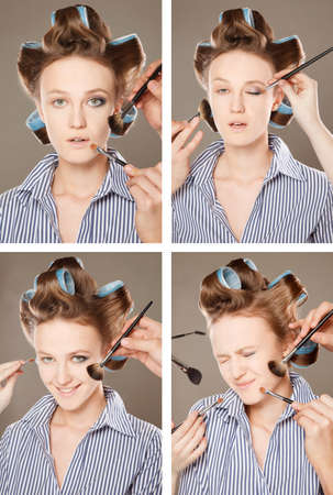 multiple images: Four images of a young woman in curler in her hair and one eye with make-up,she is expressing different emotions.   With multiple hands applying make up