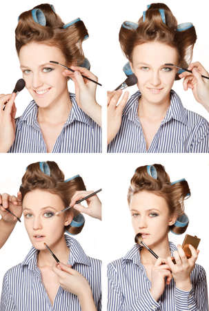 multiple images: Four images of a young woman in curler in her hair and one eye with make-up,she is expressing different emotions.   With multiple hands applying make up. Stock Photo