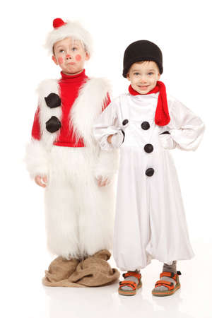 two person only: Two funny boys in the snowman costume