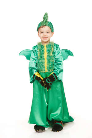 dragon vertical: Little happy boy in dragon costume on the white background Stock Photo