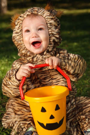trick or treating: Toddler in tiger costume trick or treating