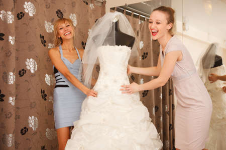 veils: Two girlfriends, A Bride-To-Be and bridesmaid having fun by fighting for A Wedding veils