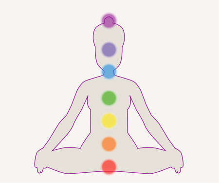 lotus position: Silhouette of human in lotus position with chakras.Vector illustration.