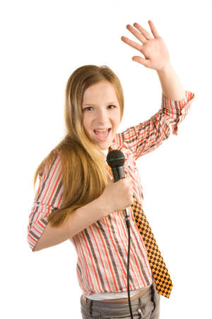 Teenage girl in striped shirt with microphone is screaming, isolated on white background