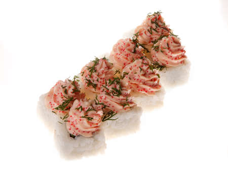 A sushi roll set with tobiko caviar  on white background Stock Photo