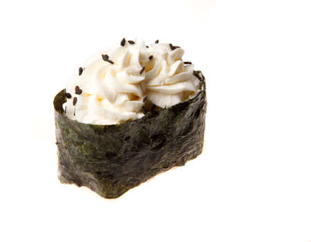 Japanese seafood sushi with nori, on white background Stock Photo
