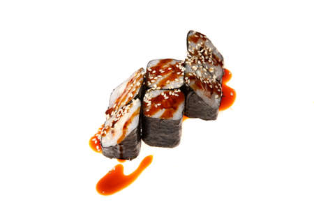 A sushi roll set with nori and Anguillidae on white background