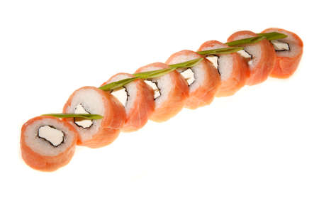 A sushi roll with salmon set on white background