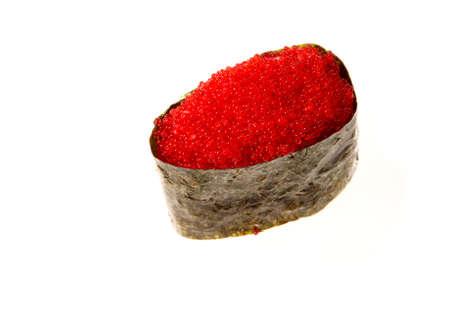 Japanese seafood sushi with nori and tobiko caviar, on white background