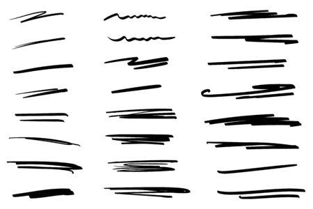 Collection dessinée à la main de différentes formes de style doodle. Lignes d'art. Isolé sur blanc. Illustration vectorielle