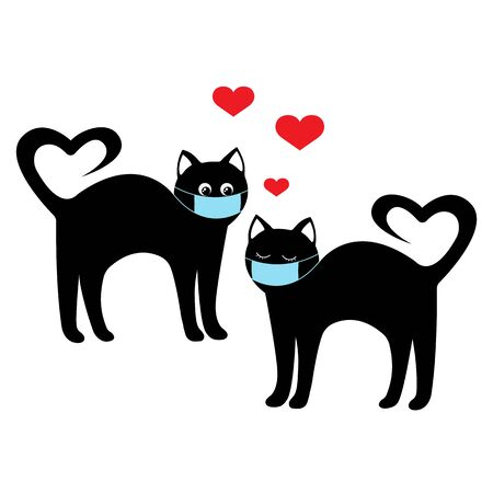 Black cats in love in masks. Love during the coronavirus. Care about health. Pair of kitties.