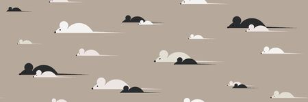 Mice walk alone and in pairs. Simple creamy toned background. Vector illustration. Ilustrace