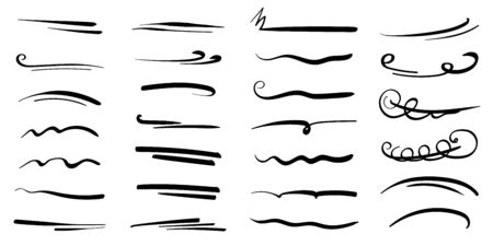 Hand-drawn collection of doodle style various shapes, underlines. Art Lines. Isolated on white. Vector illustration Vetores
