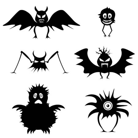 Set of monsters. Simple isolated icons for celebratory design. Black silhouettes on a white background. Vector Haloween illustration for your design Ilustração