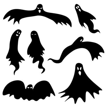 Set of ghosts for Halloween. Simple isolated icons for celebratory design. Vector holiday illustration for your design Ilustração