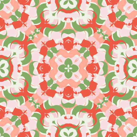 Seamless abstract pattern of a variety of shapes. Endless bright background. Red, green, pink colors. Random shapes.
