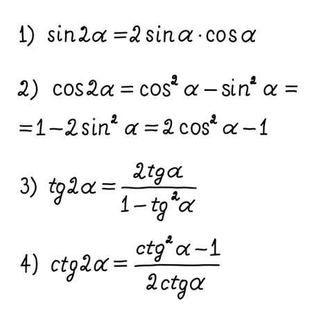 Basic trigonometric identities.Formulas for calculating sine, cosine, tangent, cotangent for double angles.Education, getting classes, school program Higher mathematics.Handwritten math text. Vector