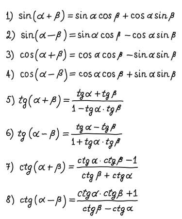 Formulas for calculating sums and differences of angles. Higher mathematics. Handwritten math text. Vector illustration