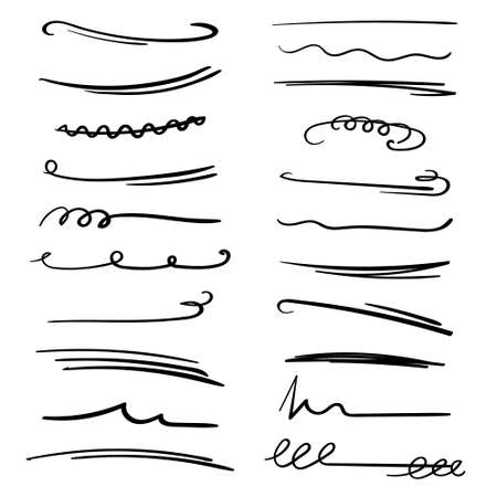 Set of handmade lines, brush lines, underlines. Hand-drawn collection of doodle style various shapes. Art Lines. Isolated on white. Vector illustration Vektorgrafik