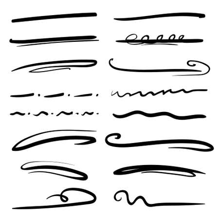Set of handmade lines, brush lines, underlines. Hand-drawn collection of doodle style various shapes. Art Lines. Isolated on white. Vector illustration Vector Illustration