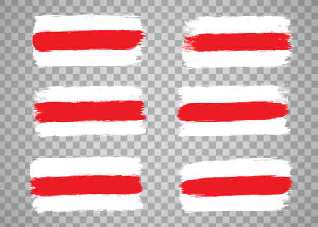 Set of the Republic of Belarus flags, white-red-white country national symbols on blue background.Hand drawn stripes, brush strokes.Elections in Belarus 2020, disagreement and protest. Isolated.Vector