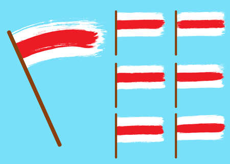 Set of the Republic of Belarus flags, white-red-white country national symbols on blue background. Hand drawn stripes, brush strokes.Elections in Belarus 2020, disagreement and protest.Isolated.Vector