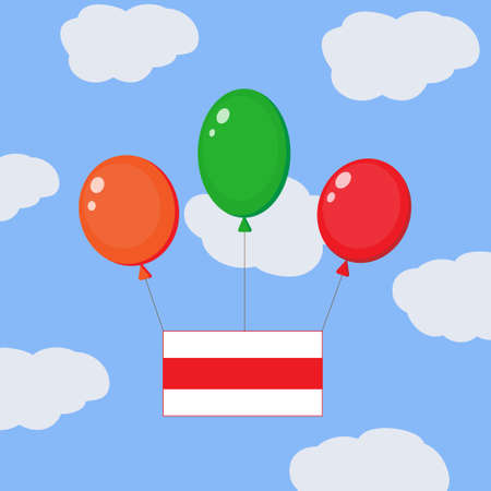Flying balloons with the white-red-white flag of Belarus.National symbol of the republic in the sky. Isolated on separate layers. Illustration