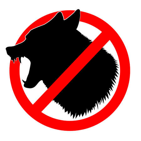 Wolf in prohibiting sign. Emblem, silhouette of a predator. Strikethrough fangs, grin, wool. Isolated on white. Vector illustration Illusztráció