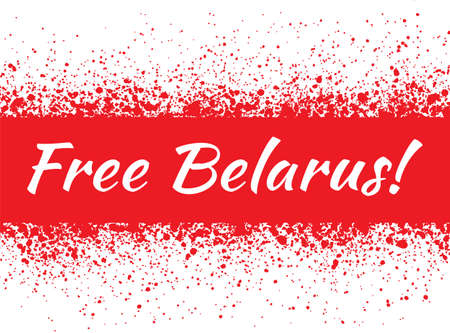 Free Belarus on the background of the Republic of Belarus flag, white-red-white country national symbol. Banner. Vector illustration