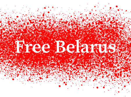 Free Belarus on the background white-red-white background, symbolic image drops of blood on the snow. Banner, slogan of August 2020. Vector illustration Ilustração