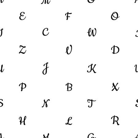 Seamless pattern with alphabet letters. Endless background for English language Day. Chaotically located symbols. Black on white. Vector illustration