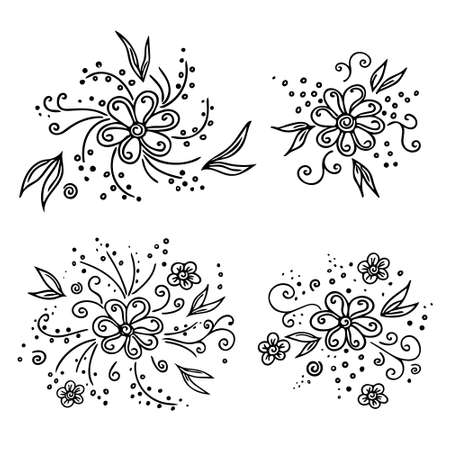 Set of hand-drawn flowers and plants, leaves, petals, floral elements. Doodle style, sketch, botanical line drawing. Isolated. Vector illustration.