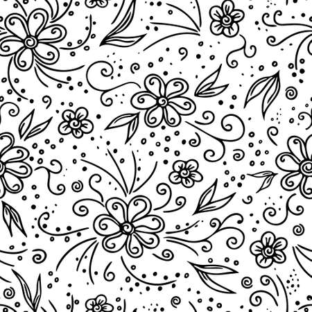 Seamless pattern with hand-drawn flowers and plants, leaves, petals, floral elements. Endless black and white background. Doodle style, sketch, botanical line drawing. Vector illustration.