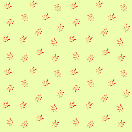 Seamless pattern with hand-drawn plants, leaves, petals, simple elements. Endless background. Doodle style, sketch, botanical line drawing. Isolated. Vector illustration Ilustração Vetorial
