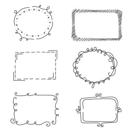Decorative frames with monograms and wavy elements, curls. Hand-drawn elements. Edgings for your design. Isolated. Vector illustration. Vettoriali