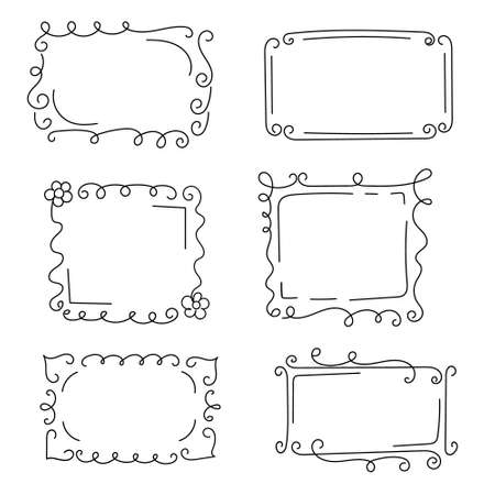 Decorative frames with monograms and wavy elements, curls. Hand-drawn elements. Edgings for your design. Isolated. Vector illustration.