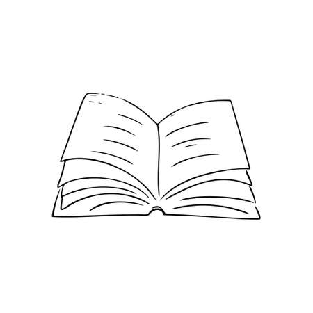 Hand-drawn book. Simple design for education, learning, reading.Art line, sketch style.Isolated.Vector illustration