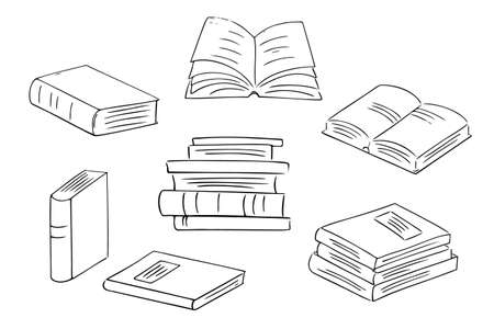Set of hand-drawn books and notepads. Simple logo design for education, learning, reading. Art line, sketch style.Isolated.Vector illustration