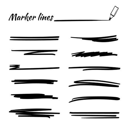 Set of hand drawn marker strokes, underlines. Collection of doodle style various strips. Art lines.Isolated on white.Vector illustration