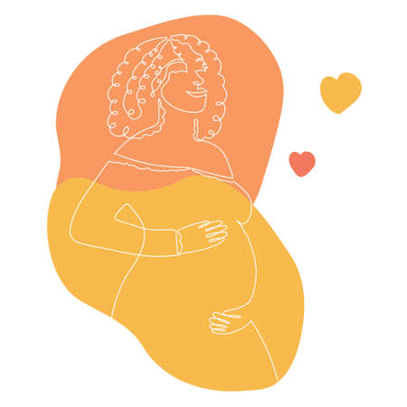 Hand drawn pregnant African American woman with abstract spots.One line, stylized continuous contour. Afro lady expecting child, picture of future mother and baby in belly.Motherhood concept.Doodle