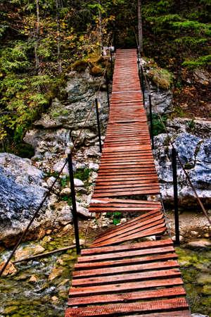 poronienie: Złamany drewniany most z brakującymi deskami. Zdjęcie Seryjne