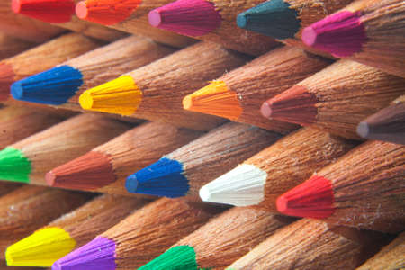 Macro detail of a set of colored pencils photo