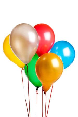 six Colored party balloons isolated on white photo