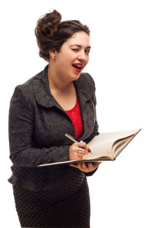 Confident business woman portrait  with notebook isolated over a white  photo